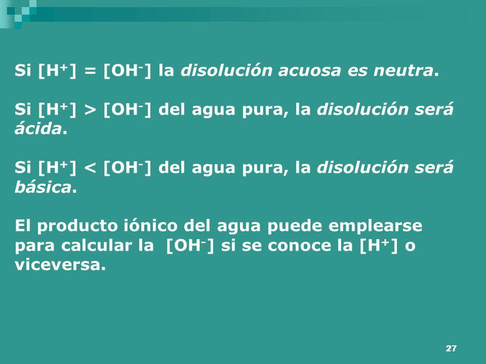 Si [H+] = [OH-] la disolución acuosa es neutra.